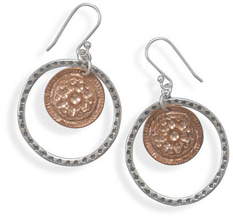 Copper and Silver Circle Drop Earrings 925 Sterling Silver