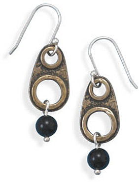 Brass and Black Onyx Drop Earrings 925 Sterling Silver