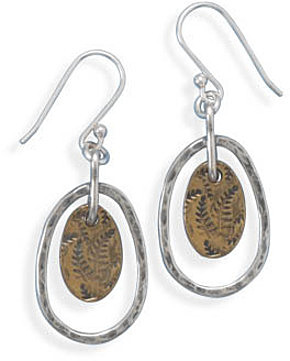 Two Tone Drop Earrings with Fern Design 925 Sterling Silver