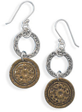 Silver and Brass Circle Drop Earrings 925 Sterling Silver