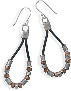 Two Tone and Black Leather Earrings 925 Sterling Silver