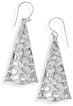 Textured Triangle French Wire Earrings 925 Sterling Silver