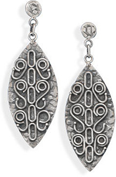 Oxidized Marquise Post Drop Earrings 925 Sterling Silver