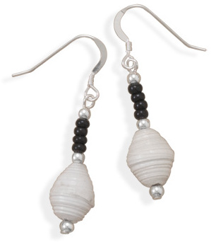 Recycled Paper and Glass Bead Earrings 925 Sterling Silver - DISCONTINUED