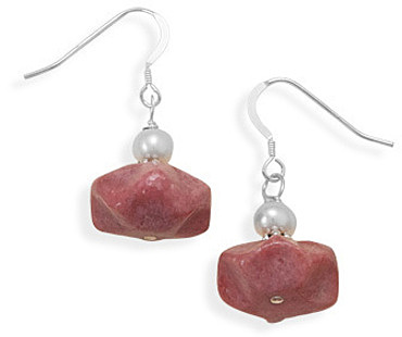 Rhodocrosite and Cultured Freshwater Pearl Earrings 925 Sterling Silver