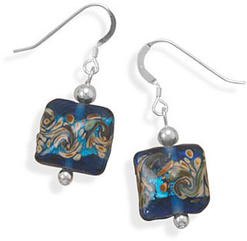 Multicolor Glass Bead Earrings 925 Sterling Silver