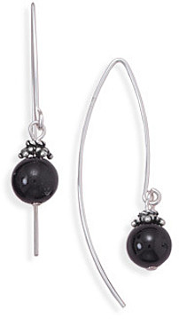 "8mm (1/3"") Black Onyx Bead Long Wire Earrings 925 Sterling Silver"