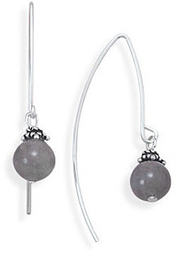 "8mm (1/3"") Labradorite Bead Long Wire Earrings 925 Sterling Silver"