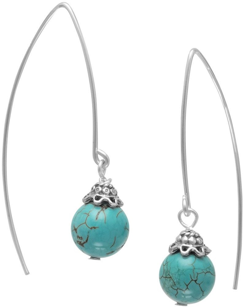 "8mm (1/3"") Turquoise Bead Long Wire Earrings 925 Sterling Silver"