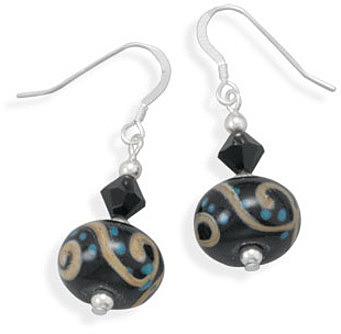 Czech Glass and Ceramic Bead Earrings 925 Sterling Silver