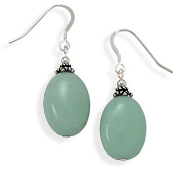 Oval Amazonite Earrings 925 Sterling Silver