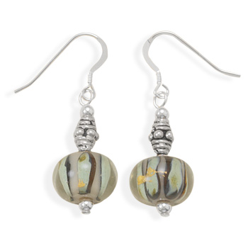Green and Black Glass Bead Earrings 925 Sterling Silver - DISCONTINUED