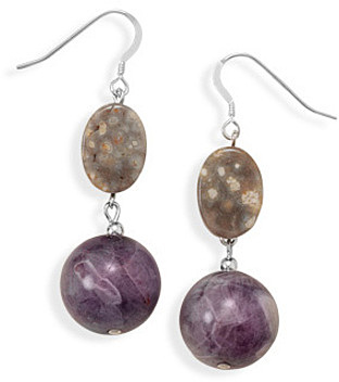 Jasper and Amethyst Drop Earrings 925 Sterling Silver