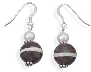 Agate Bead and Cultured Freshwater Pearl Earrings 925 Sterling Silver