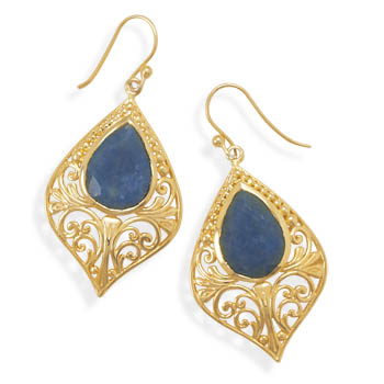 Ornate 14 Karat Gold Plated Rough-Cut Sapphire Earrings 925 Sterling Silver- DISCONTINUED