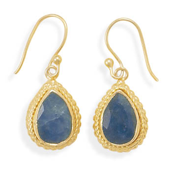 14 Karat Gold Plated Rough-Cut Sapphire Earrings 925 Sterling Silver - DISCONTINUED