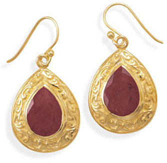 14 Karat Gold Plated Rough-Cut Ruby Earrings 925 Sterling Silver
