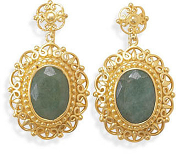 14 Karat Gold Plated Rough-Cut Emerald Earrings 925 Sterling Silver