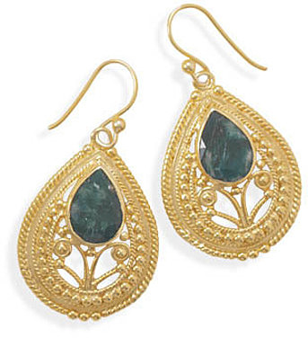 Ornate 14 Karat Gold Plated Rough-Cut Emerald Earrings 925 Sterling Silver