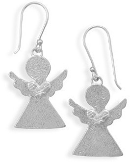 Angel with Heart Earrings 925 Sterling Silver - DISCONTINUED