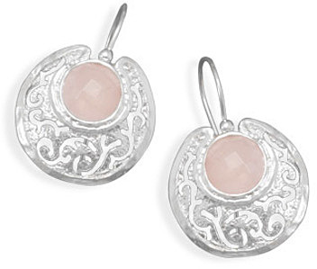 Faceted Rose Quartz Earrings 925 Sterling Silver - DISCONTINUED