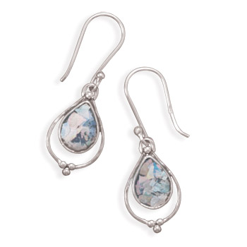 Pear Shape Roman Glass Earrings 925 Sterling Silver - DISCONTINUED