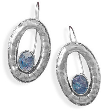 Open Oval Roman Glass Earrings 925 Sterling Silver - LIMITED STOCK