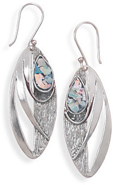 Oxidized Marquise Earrings with Roman Glass 925 Sterling Silver