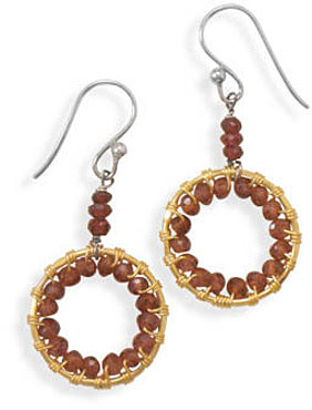 14 Karat Gold Plated Garnet Earrings 925 Sterling Silver