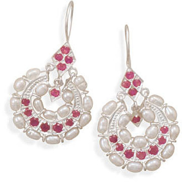 Ruby and Cultured Freshwater Pearl Earrings 925 Sterling Silver