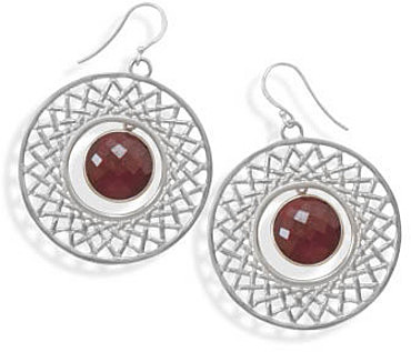 Cut Out Drop Earrings with Faceted Ruby 925 Sterling Silver