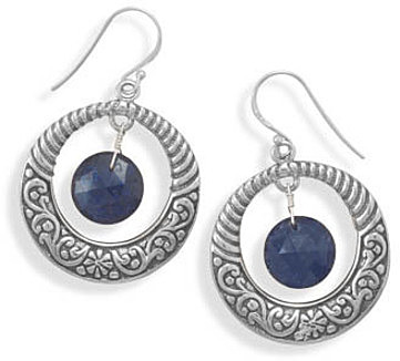 Oxidized Earrings with Sapphire Drop 925 Sterling Silver