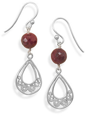 Faceted Ruby Drop Earrings 925 Sterling Silver