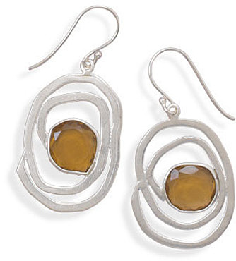 Matte Finish Citrine Earrings 925 Sterling Silver