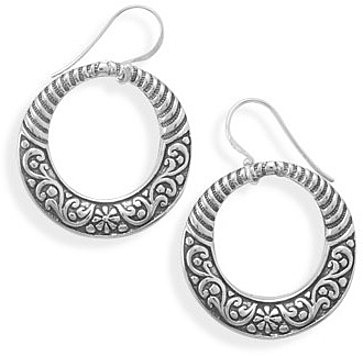 Oxidized Floral Pattern Earrings 925 Sterling Silver