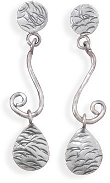Oxidized Pear Drop Post Back Earrings 925 Sterling Silver
