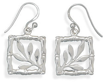 Bamboo Design Earrings 925 Sterling Silver