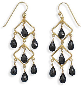 14 Karat Gold Plated Black Spinel Earrings 925 Sterling Silver