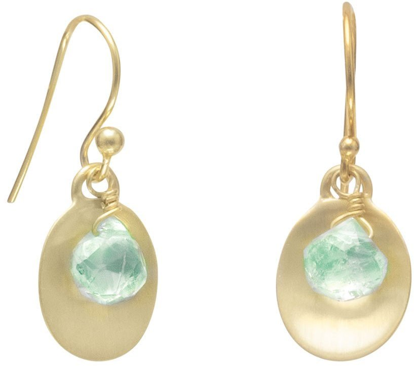 14 Karat Gold Plated Aquamarine Earrings 925 Sterling Silver