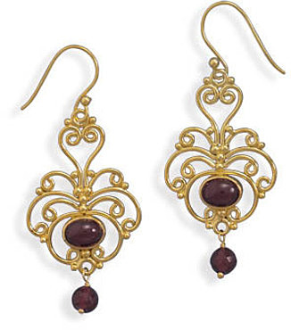 14 Karat Gold Plated Ornate Garnet Earrings 925 Sterling Silver