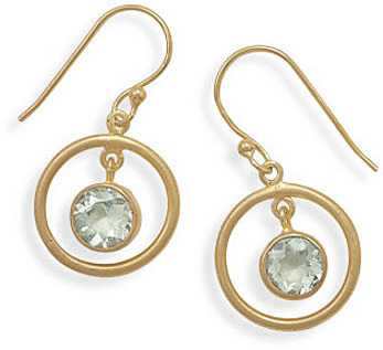 Green Amethyst 14 Karat Gold Plated Earrings 925 Sterling Silver