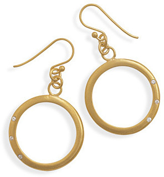 14 Karat Gold Plated Open Circle Drop Earrings 925 Sterling Silver