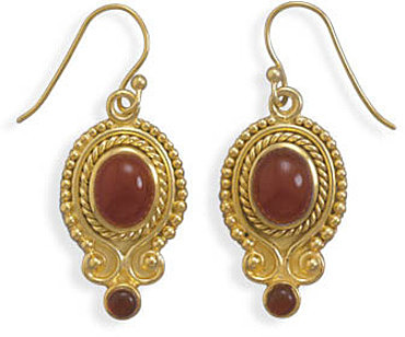 14 Karat Gold Plated Carnelian Earrings 925 Sterling Silver