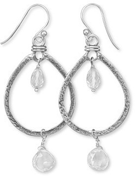 Oxidized Clear Quartz Drop Earrings 925 Sterling Silver