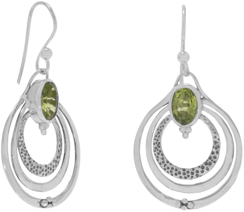 Oxidized Triple Circle with Peridot Earrings 925 Sterling Silver