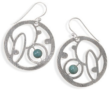 Textured Cut Out Earrings with Turquoise 925 Sterling Silver