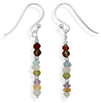 Faceted Gemstone Drop Earrings 925 Sterling Silver