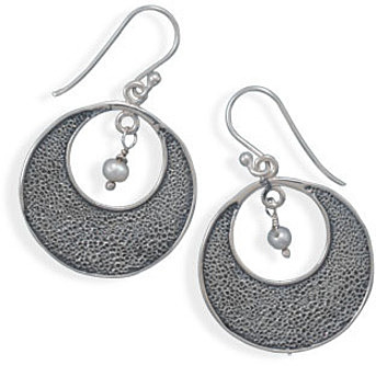 Oxidized Open Circle Earrings with Cultured Freshwater Pearl 925 Sterling Silver