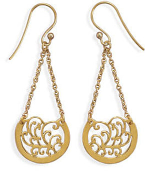 14 Karat Gold Plated Chain with Ornate Design Drop Earrings 925 Sterling Silver