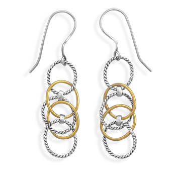 Two Tone Multiring Drop Earrings 925 Sterling Silver - DISCONTINUED